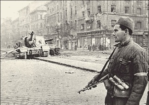 1956 The Streets of Budapest, Hungary after the October Uprising by Budapest University students (among others), Soviet soldier and tank