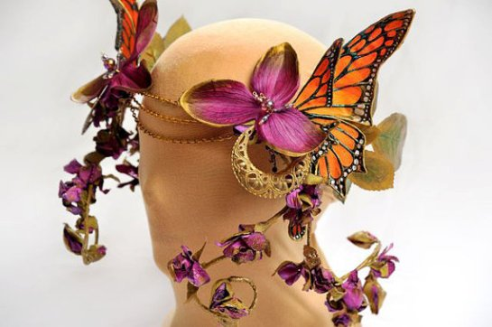 monarch butterfly orchid Easter headdress hat littlewingfaerieart etsy