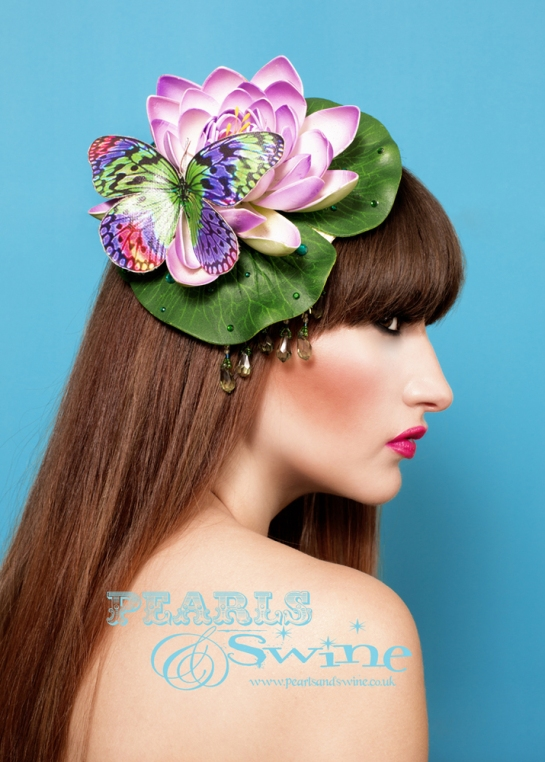 "Lovely lily pad fascinator from the Temptress of Waikiki. Reminds me of the mermaids from Disney's ""Peter Pan""."