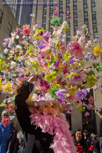 worldofstock com big spring Easter hat lady