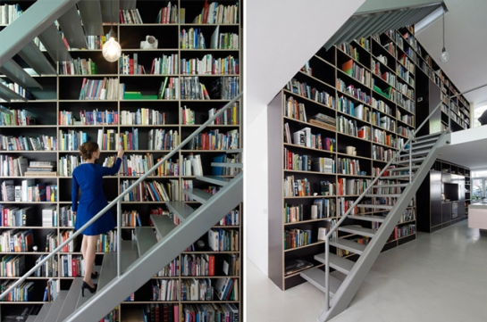 This Netherlands Dream House by Shift Was Entirely Built Around a Giant Three-Story-High Bookshelf 6 gizmodo com