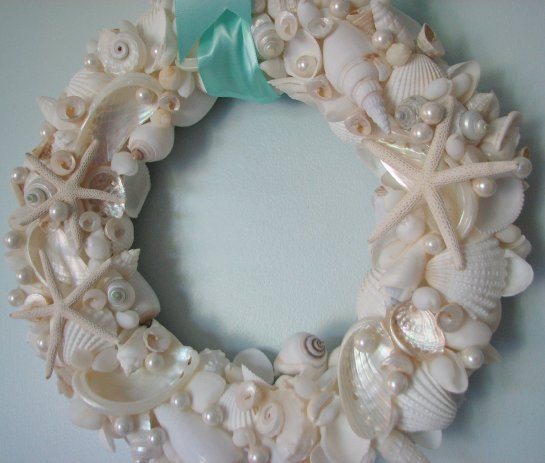 lululla com beach decor shell pearl wreath