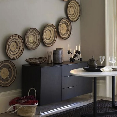 blog. hgtv. com 2001 05 09 Jeanine Hays design trend woven baskets as wall decor pic from Living Etc.