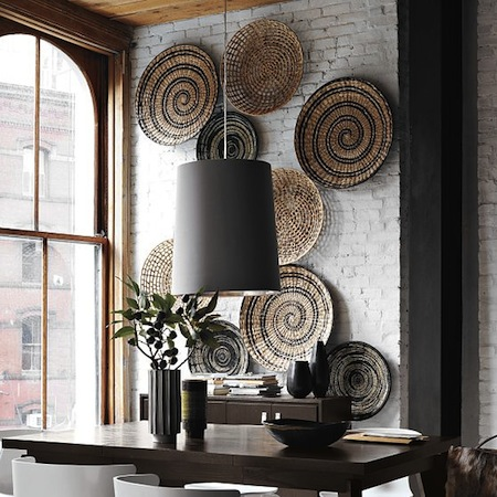 blog. hgtv. com 2001 05 09 Jeanine Hays design trend woven baskets as wall decor pic from West Elm