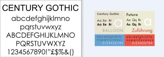 Century Gothic Futura comparison