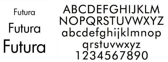 Futura font alphabet letters