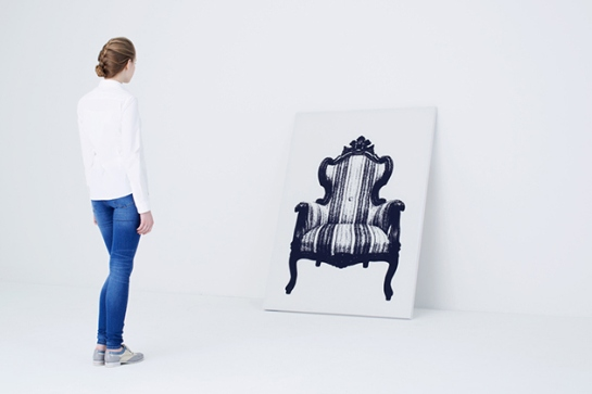 urbantaster com japanese firm YOY canvas stretchy chair painting with chair behind you can sit on 2