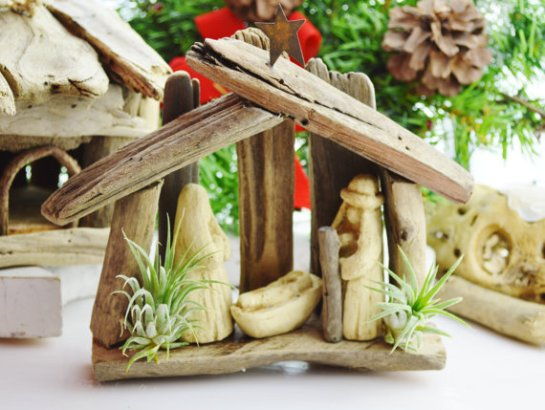 beach cottage boutique etsy Christmas creche manger nativity scene drift wood and tillandsias