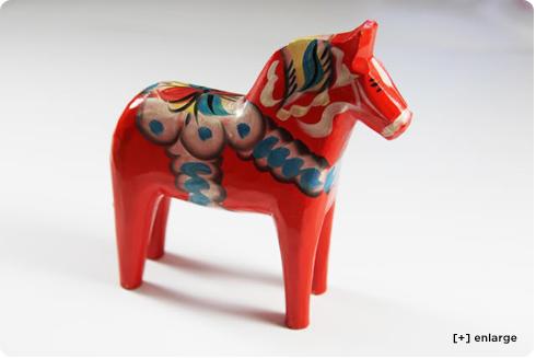 Dalarna wood red painted Swedish horse, dharmatrading com
