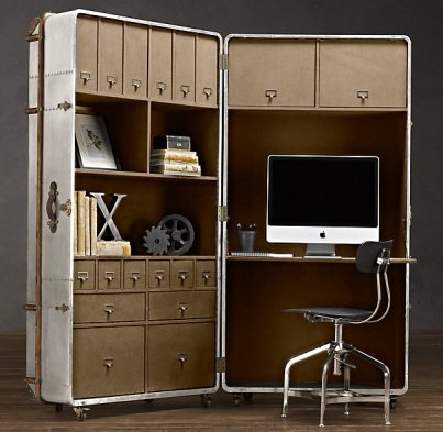 restorationhardware com richards metal secretary trunk